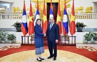 Thủ tướng Nguyễn Xuân Phúc tiếp Chủ tịch Quốc hội Lào