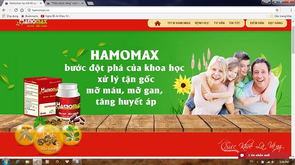 """Xử phạt Công ty Cổ phần phát triển thảo dược Việt Nam vì quảng cáo TPCN Hamomax như """"thần dược"""" - Hình 1"""