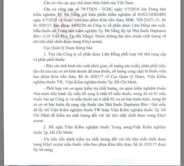 Cục Quản lý dược yêu cầu kiểm nghiệm chất lượng lô thuốc Kim Tiền Thảo