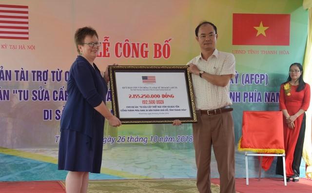 Thanh Hóa: Quỹ Bảo tồn Văn hóa Hoa Kỳ tài trợ hơn 92.000 USD tu sửa thành Nhà Hồ - Hình 1
