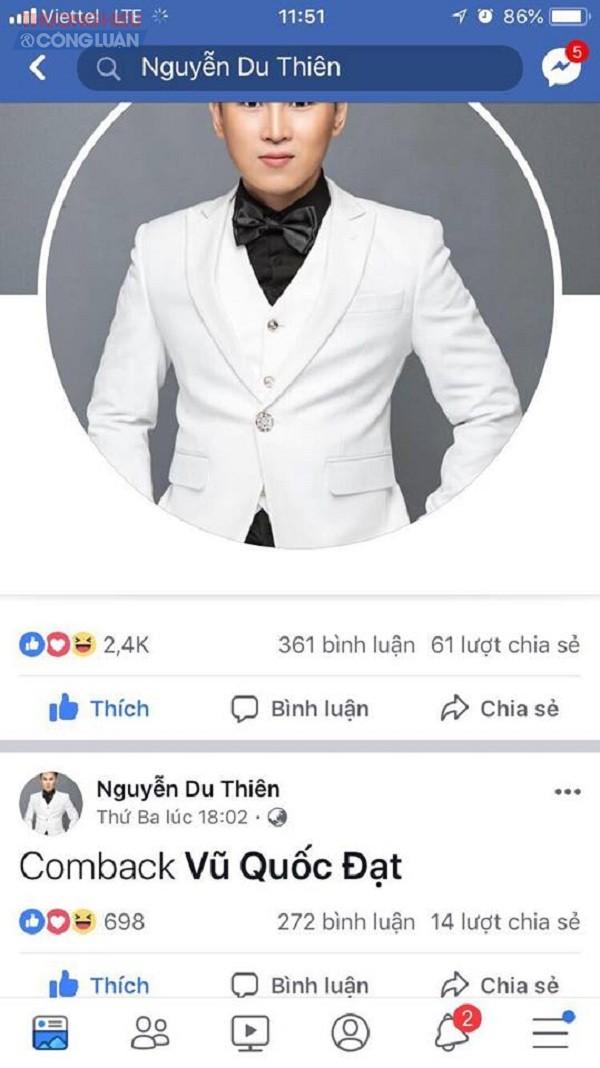 Ca sĩ Du Thiên mừng rơi nước mắt vì lấy lại được Face book chính chủ - Hình 2
