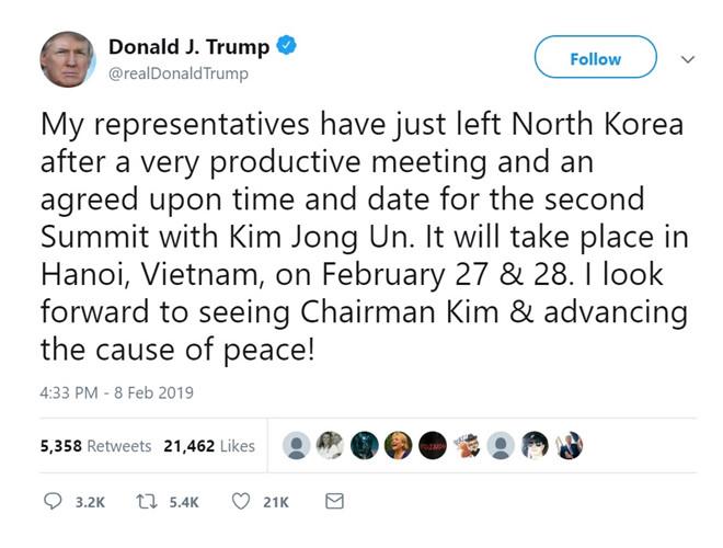 Tổng thống Mỹ khẳng định thượng đỉnh Mỹ - Triều lần 2 diễn ra tại Hà Nội - Hình 1