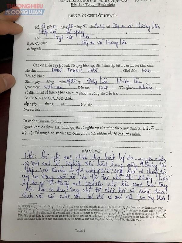 Biên bản ghi lời khai củaCông an xã Hương Lâm (Hiệp Hòa, Bắc Giang).