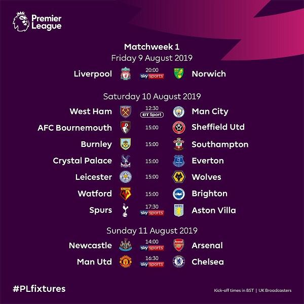 Lịch thi đấu Ngoại hạng Anh 2019/2020: MU chạm trán Chelsea ngay tại vòng mở màn - Hình 1