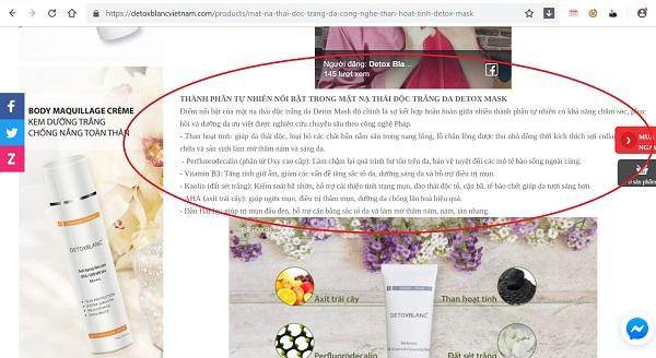 Mỹ phẩm Detox Blanc quảng cáo không đúng về sản phẩm, dối người tiêu dùng? - Hình 3