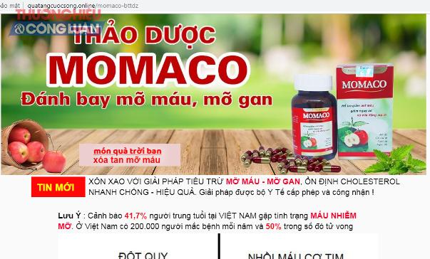 Trên một số website, mạng xã hội, sản phẩm TPBVSK Momaco được quảng cáo có công dụng như thuốc chữa bệnh