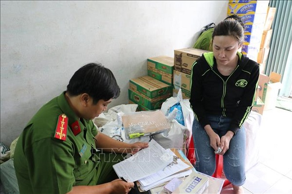 Đối tượng Điền Thanh Sang làm việc với cơ quan công an.