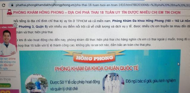 Một quảng cáo nạo phá thai 18 tuần trên website www.phathai.phongkhamdakhoahongphong.vn
