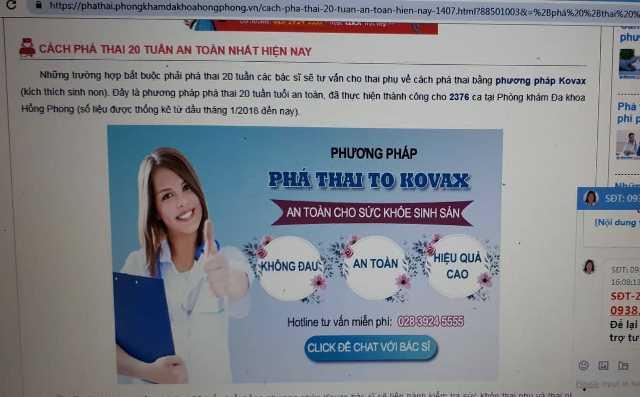 Trên website của PKĐK Hồng Phong từng quảng cáo phá thai 20 tuần tuổi vượt phạm vi cho phép