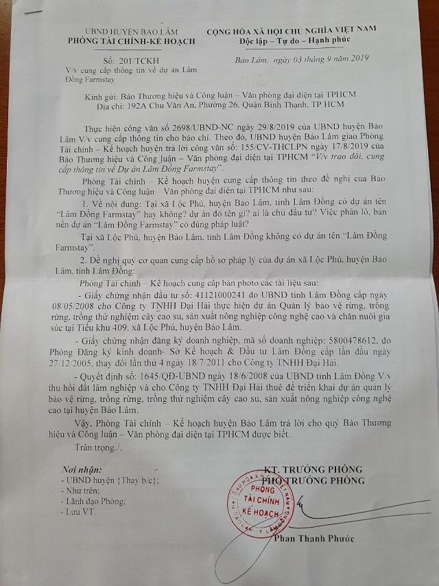 CV số 201/TCKH huyện Bảo Lâm ngày 3/9/2019