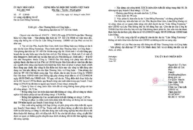 Cơ quan chức năng khẳng định không có dự án Lâm Đồng Farm