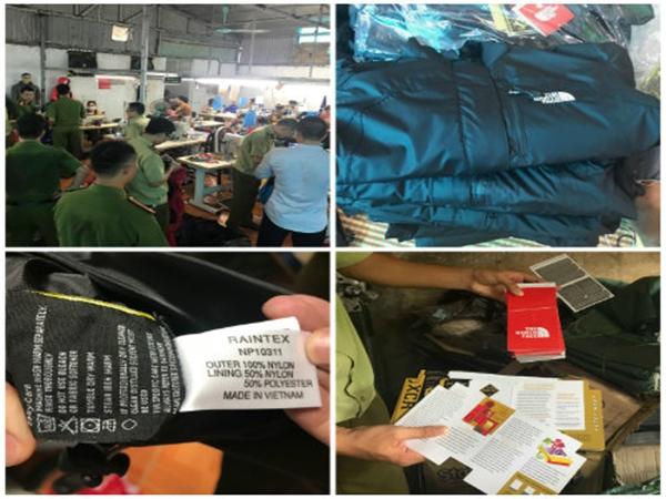 Lực lượng chức năng tỉnh Hưng Yên tiến hành kiểm tra xưởng sản xuất áo hàng hiệu giả (Ảnh Vietq.vn)