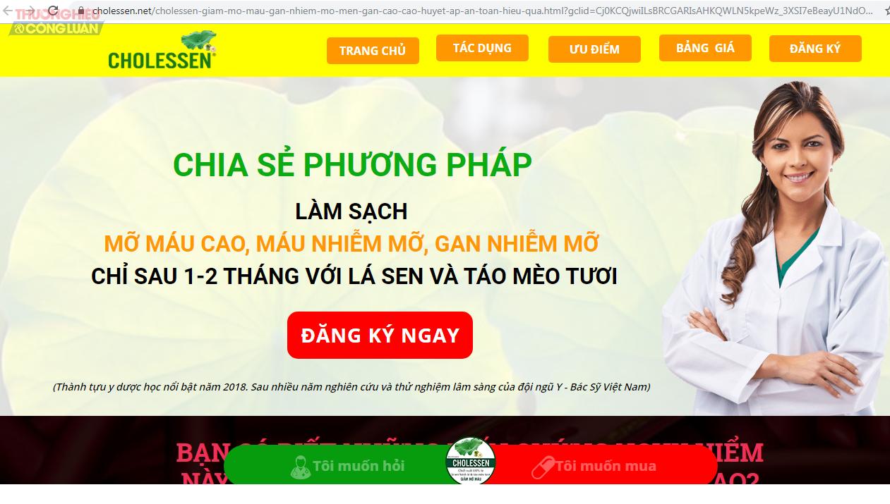 Công dụng của sản phẩm TPBVSK Cholessen được quảng cáo trên một số website.