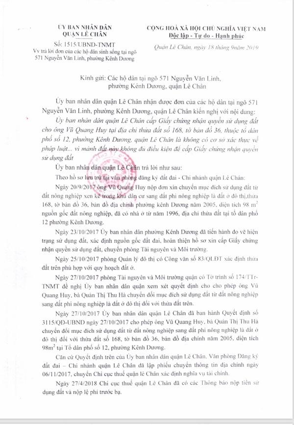 UBND quân Lê Chân trả lời đơn của các hộ dân ngõ 571 Nguyễn Văn Linh