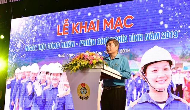 Ông Trần Thanh Hải- phó chủ tịch thường trực Tổng LĐLĐ VN phát biểu khai mạc