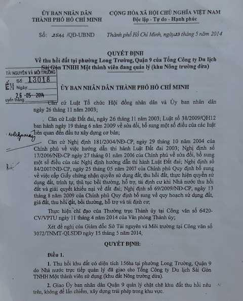 QĐ 2541/QĐ-UBND về việc thu hồi đất khu nông trường dừa do Tổng công ty Du lịch Sài Gòn TNHH Một thành viên quản lý.