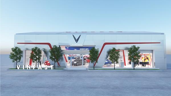 Gian hàng của VinFast tại Vietnam Motor Show 2019 rộng gần 600 m2, nằm tại khu trưng bày ngoài trời