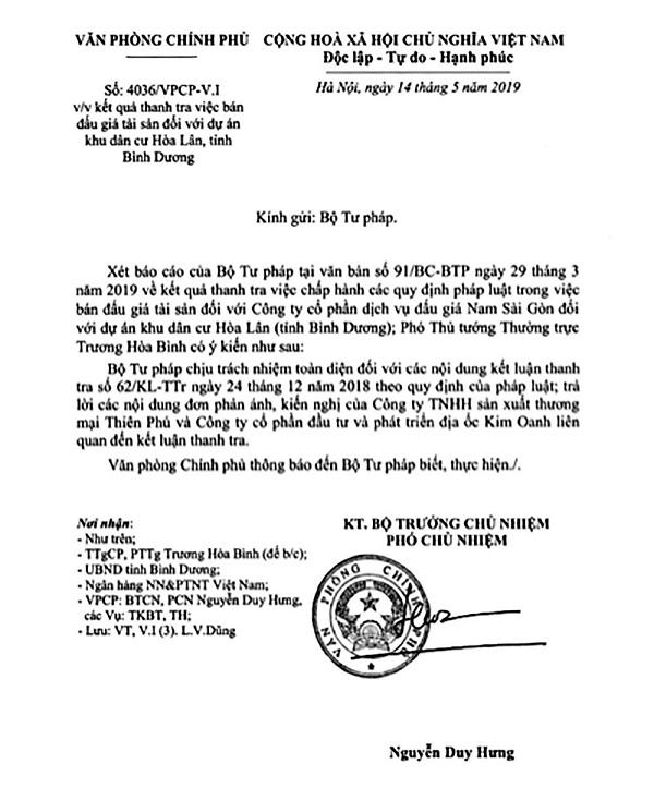 Văn bản của Văn phòng Chính phủ truyền đạt ý kiến chỉ đạo của Phó Thủ tướng Thường trực Chính phủ Trương Hòa Bình
