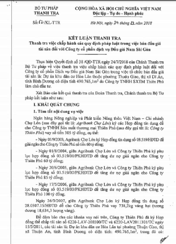 Kết luận Thanh tra việc chấp hành các quy định pháp luật trong việc bán đấu giá tài sản với Công ty cổ phần dịch vụ Đấu giá Nam Sài Gòn
