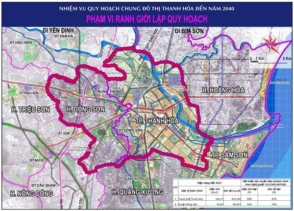 Bản đồ quy hoạch chung phát triển đô thị ở Thanh Hóa đến năm 2040.