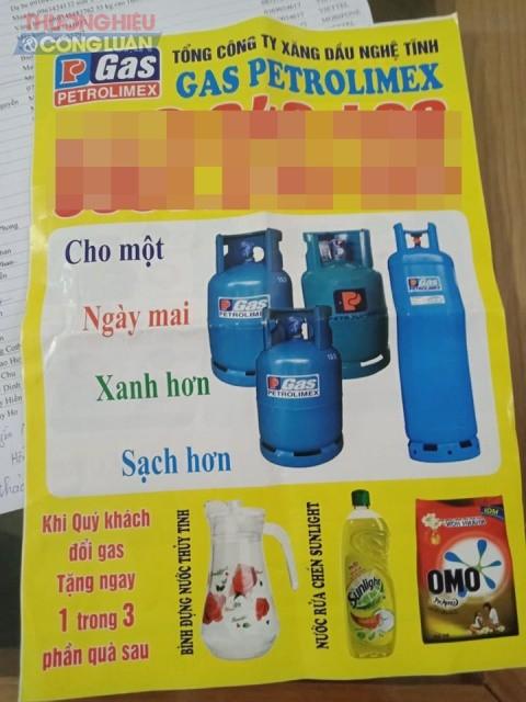 Một tờ rơi giả nhãn hàng gas Petrolimex của tổng công ty xăng dầu Nghệ Tĩnh nhưng thực tế hiện không còn tên công ty và logo như trên vỏ bình quảng cáo.