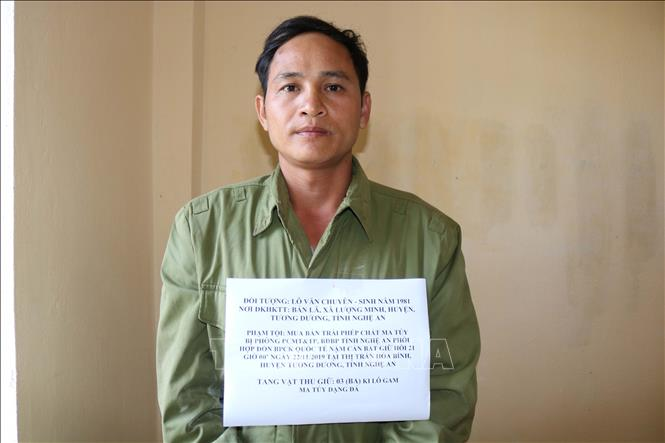 Đối tượng Lô Văn Chuyên bị bắt giữ.