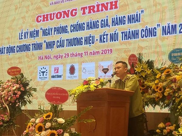 Ông Vũ Xuân Bính - Phụ trách Phòng nghiệp vụ 2 - Tổng cục QLTT phát biểu tại buổi lễ