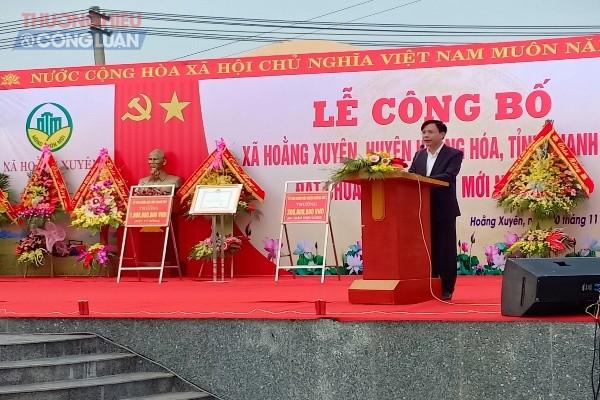 Đồng chí Lê Văn Phúc huyện ủy viên - Phó chủ tịch UBND huyện phát biểu tại buổi lễ