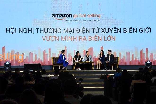"""Tham dự buổi tọa đàm """"Vươn mình ra biển lớn"""", bà Đỗ Thị Hoa – PGĐ phụ trách Trung tâm Nghiên cứu thị trường và phát triển đối tác KHDN SHB cho biết: """"SHB sẽ hỗ trợ doanh nghiệp, người bán hàng tại Việt Nam tiếp nhận các chương trình đào tạo từ Amazon, quảng bá sản phẩm, phát triển thương hiệu, và đặc biệt là khâu thanh toán và tài chính"""""""