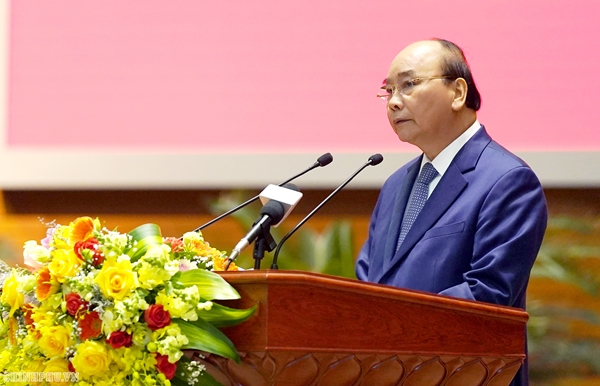 Thủ tướng Nguyễn Xuân Phúc phát biểu tại Hội nghị quân chính toàn quân 2019 (Ảnh VGP/Quang Hiếu)
