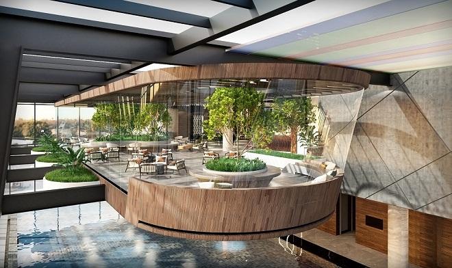 Bể bơi vô cực thông tầng với skybar tại Grandeur Palace - Giảng Võ