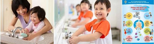 Ngay sau khi tay trẻ có tiếp xúc với các bề mặt có nguy cơ lây nhiễm, giúp hoặc tập cho trẻ rửa tay đúng cách, đủ thời gian (khoảng 30 giây) bằng xà phòng dưới vòi nước đang chảy hoặc các dung dịch sát khuẩn tay chuyên dùng