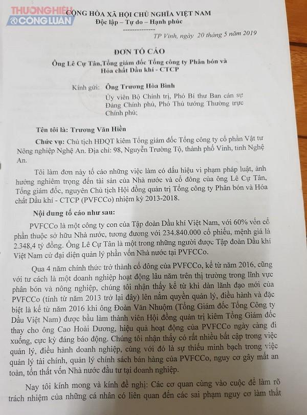 Đơn tố cáo của một trong những cổ đông tại PVFCCo tố cao sai phạm đối với ông Lê Cự Tân, Tổng giám đốc Tổng công ty Phân bón và Hóa chất Dầu khí
