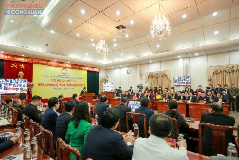 Toàn cảnh buổi Lễ phát động toàn dân chung tay phòng chống dịch Covid-19 do UBTƯ MTTQ Việt Nam tổ chức