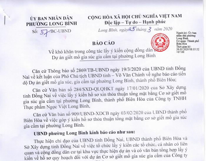 Báo cáo của UBND phường Long Bình