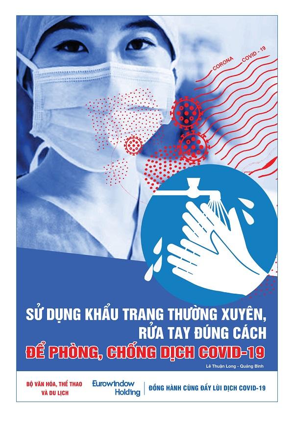 """Tác phẩm tranh """"Sử dụng khẩu trang thường xuyên, rửa tay đúng cách để phòng, chống dịch COVID-19"""" của họa sĩ Lê Thuận Long (Quảng Bình)"""