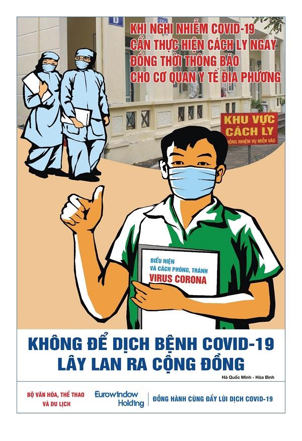 """Tác phẩm tranh """"Không tụ tập đông người để tránh nguy cơ lây nhiễm của Lê Thuận Long (Quảng Bình)"""