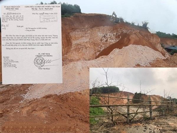 UBND tỉnh Phú Thọ đã yêu cầu Sở TNMT tỉnh Phú Thọ chủ trì, phối hợp với Công an tỉnh kiểm tra, xử lý