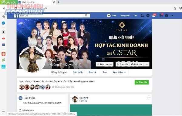 Tài khoản facebook (được cho là của CEO Công ty Health Star) đang giới thiệu và bán sản phẩm giảm cân L-Star mà Cục ATTP đã khuyến cáo