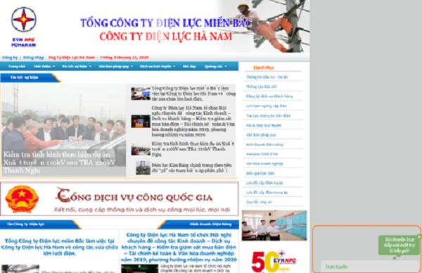 Hệ thống tương tác chăm sóc khách hàng trực tuyến tích hợp trên trang thông tin điện tử của Công ty Điện lực Hà Nam