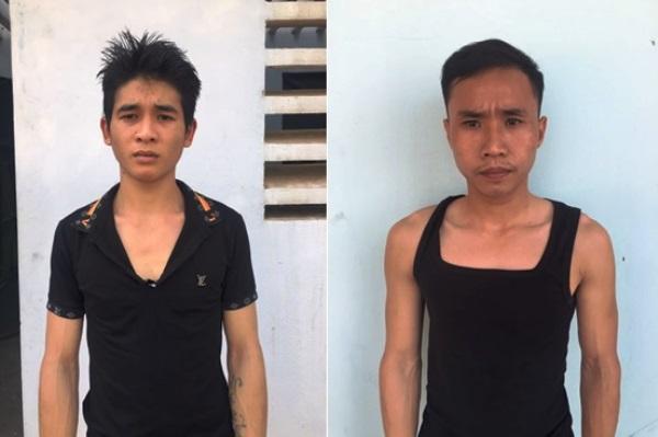 Đối tượng Lê Văn Nam (trái) và Nguyễn Kim Tuyến bị Công an huyện Lập Thạch bắt giữ sau khi gây án