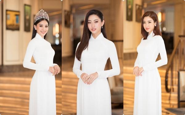 """Trần Tiểu Vy, Lương Thùy Linh, Đỗ Mỹ Linh mặc áo dài trắng đọ sắc đẹp """"hút hồn"""""""