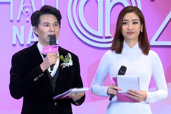 Hoa hậu Việt Nam 2016 Đỗ Mỹ Linh đảm nhận vị trí MC của buổi họp báo cùng nam MC Vũ Mạnh Cường