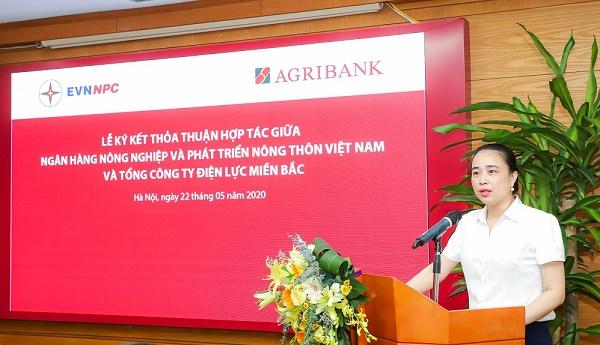 Bà Đỗ Nguyệt Ánh - Tổng giám đốc EVNNPC phát biểu tại buổi Lễ