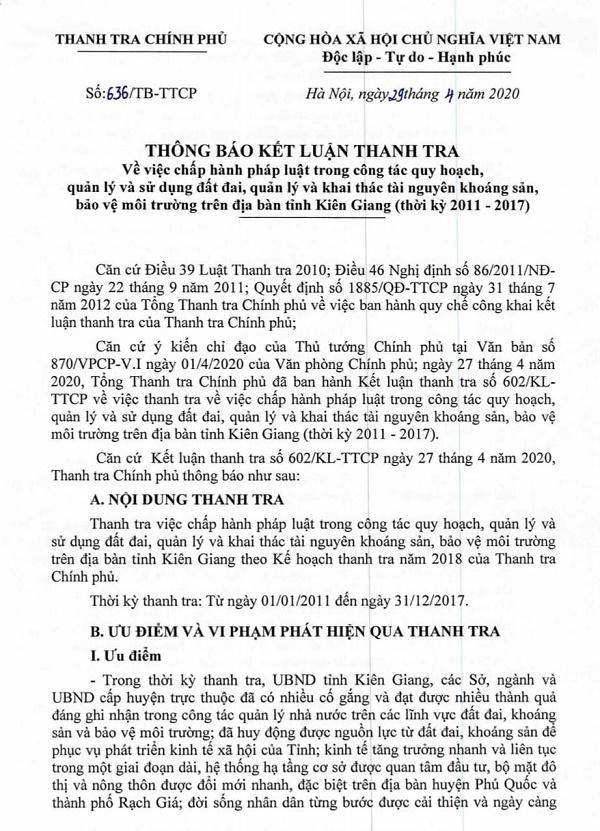 Kết luận thanh tra số 639/TB-TTCP ngày 29/4/2020 của Thanh tra Chính phủ.