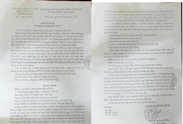Quyết định xử phạt của Sở NN&PTNN tỉnh Đắk Nông