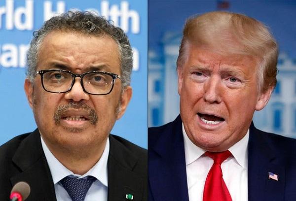 Tổng thống Mỹ Donald Trump (phải) và Tổng giám đốc WHO Tedros Adhanom Ghebreyesus (Ảnh: Getty)