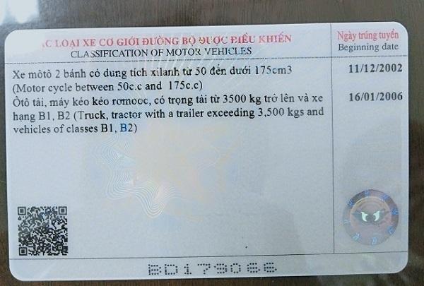 Mặt sau của giấy phép lái xe