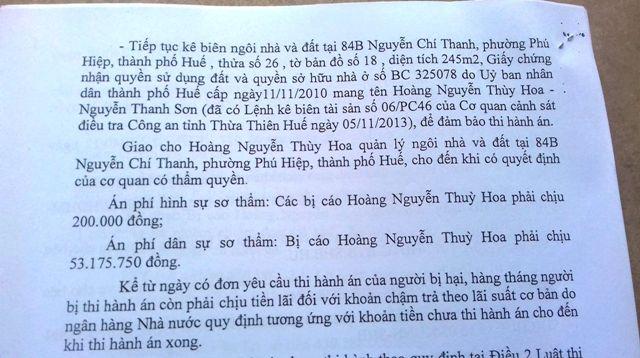 TAND tỉnh TT Huế tuyên buộc kê biên nhà và đất 84B Nguyễn Chí Thanh của Hoa để thi hành án