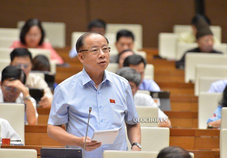 Đại biểu Nguyễn Văn Thân thảo luận tại Hội trường sáng 16/6